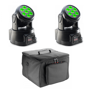 2x Stagg Headbanger 10 4-in-1 LED Moving Heads inc. Carry Bag