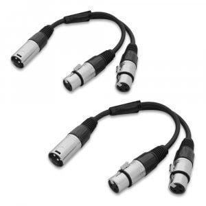 2x W Audio 0.25M XLR Male to 2x XLR Female 3P Splitter Lead Cable DJ Band Studio PA