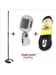 Retro 50's Vintage Mic (Chrome) inc. Cable and Stand
