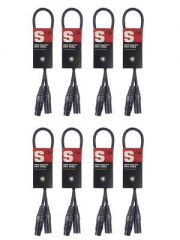 8x Stagg Female to Male DMX / XLR Cable  (0.5m Black)
