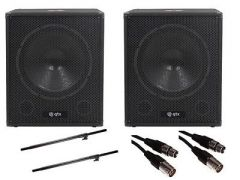 "2x QTX QT15SA 15"" 1200w Active Subwoofers inc. Speaker Poles and Cables"