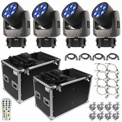 4x Chauvet DJ Intimidator Trio inc. Flightcases, Remote, Safety Wire, Clamps and Cables