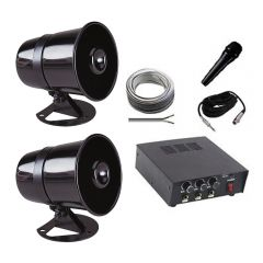 Vehicle PA System (12v) inc. Mic, Speakers & Amp