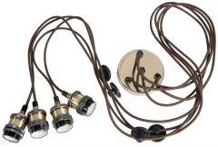 LLYT Quad E27 Pendant Cordsets - Antique Brass