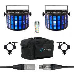 2x Chauvet DJ Mini Kinta IRC inc. Carry Bag, Remote, Clamps and DMX Cable
