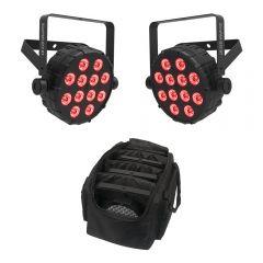 2x Chauvet DJ SlimPAR Q12 Bluetooth Wireless LED PAR Can inc. Carry Bag