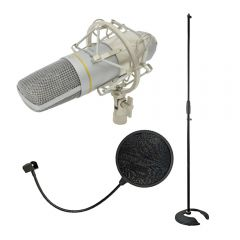 Citronic CCU2 Cardiod USB Studio Condenser Microphone for Recording Bundle