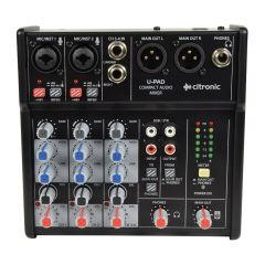 Citronic U-Pad Compact Mixer USB Interface Studio Podcast Mixing Desk