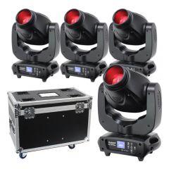 4x eLumen8 Evora 500 Spot LED Moving Head 100W DJ Disco Lighting Package