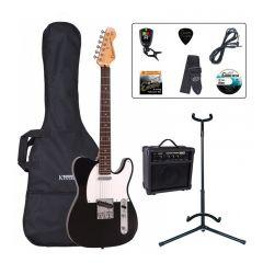 Encore E2 Electric Guitar Pack ~ Gloss Black