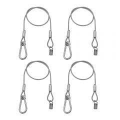 4x Equinox 75cm PVC Coated Safety Wire 50kg Carabiner Safety Bond Lighting DJ Stage