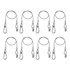 8x Equinox 75cm PVC Coated Safety Wire 50kg Carabiner Safety Bond Lighting DJ Stage