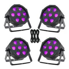 4x Equinox MaxiPar Quad LED Par Can Uplighter DMX DJ Lighting RGBW Bundle