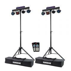 2x Equinox Microbar Multi System Reloaded Lighting Package T-Bar Derby UV Strobe DJ Disco