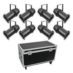 Eurolite Set 8x LED PAR 64 COB Warm White 100W Zoom Black + Flightcase