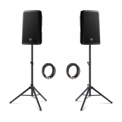 """2x Electro-Voice (EV) ZLX-12P 1000w 12"""" Active Speakers inc. Stands and Cables"""