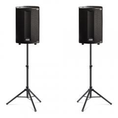 """2x FBT ProMaxX 114A 14"""" 900w Active Speakers inc. Tripod Speaker Stands"""