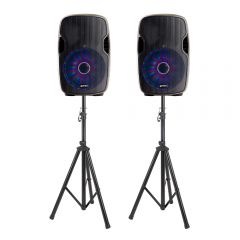 2x Gemini AS-15BLU-LT 4000W Active Speaker Bundle