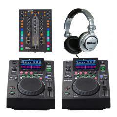 2x Gemini MDJ-500 + PMX-10 Mixer DJ Media Player Starter Package inc Headphones