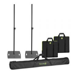 2x Gravity LS431B Square Base Lighting Stand with 3x M20 Mount inc. Bags