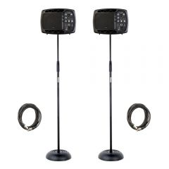 2x Ibiza Sound 150W Bluetooth Active Monitor Speakers inc. Microphone Stands and Cables
