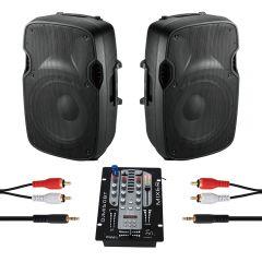 Ibiza Sound 600W DJ Disco Sound System 2 x XTK10A + DJM150USB