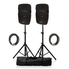 "Ibiza Sound XTK8A Active Speaker 8"" 400W Sound System DJ Disco Package"