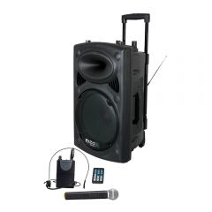 "Ibiza Sound 15"" 800W Portable Bluetooth PA System + UHF Wireless Mic"
