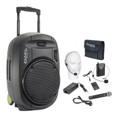 "Ibiza PORT15VHF-MKII Portable Speaker 15"" Wireless Mic & Cover"