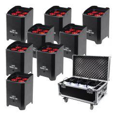 8x LEDJ Rapid QB1 Hex LED Uplighter Battery Wireless LED Lighting + Charging Flightcase