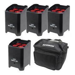 4x LEDJ Rapid QB1 Hex LED Uplighter Battery Wireless LED Lighting DJ Disco