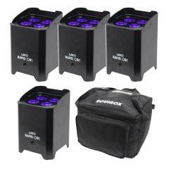 4x LEDJ Rapid QB1 Hex IP LED Uplighter IP54 Battery Wireless LED Outdoor Lighting