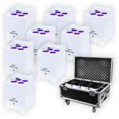 8x LEDJ White Rapid QB1 Hex IP LED Uplighter IP54 Battery Wireless LED Outdoor Lighting