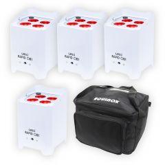 4x LEDJ White Rapid QB1 Hex LED Uplighter Battery Wireless LED Lighting DJ Disco
