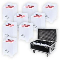 8x LEDJ White Rapid QB1 Hex LED Uplighter Battery Wireless Lighting + Charging Flightcase