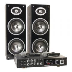 LTC Karaoke Sound System 200W USB SD Bluetooth 2 x Wired Mic