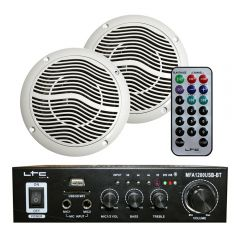 LTC MFA-1200 Stereo Amplifer & 2 x Ceiling Speaker 100W Bathroom Kitchen