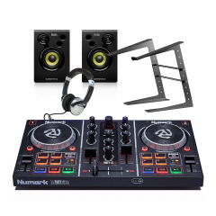 Numark PartyMix DJ Controller + Studio Monitor Speakers/ Headphones DJ Bundle 2