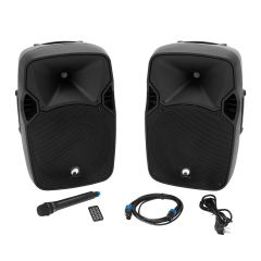 Omnitronic XFM-212AP Active Pair of Speakers Bluetooth inc Wireless Microphone PA