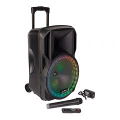 Party Light Sound PARTY-12RGB Portable PA Speaker Bluetooth Battery PA System inc Mic