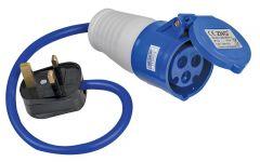 Pro-Elec 16A Socket to 13A Plug Generator/Caravan Hook Up Adaptor
