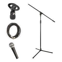 Pulse PM580 Dynamic Vocal Microphone inc. Stand, XLR Cable and Mic Clip