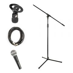 Pulse PM580s Dynamic Vocal Microphone inc. Stand, XLR Cable and Mic Clip