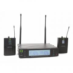 Q Audio QWM1960 Dual Beltpack Wireless Lapel Lavalier Headset Microphone CH38
