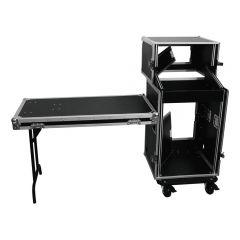 Roadinger Flightcase Pro 16U + 10U Mixer Rack Case PA Sound System inc Desk Table