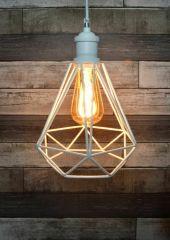 LYYT Lamp Cage - Diamond Shape - White Retro Industrial Light