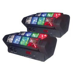 2x SS Mini Spider RGBW LED Beam Effect Light DJ Disco Lighting