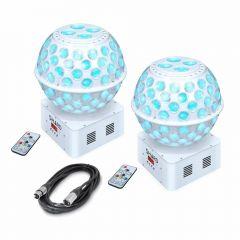 2x Shard Starballs White LED Mirrorball Effect inc Remotes