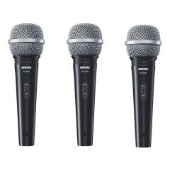 3x Shure SV100 Dynamic Handheld Vocal Mic inc. Cables