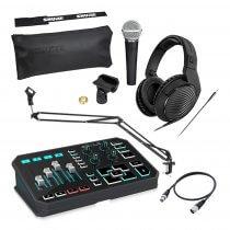 PRO Streamer Kit TC Helicon Go XLR USB 4-Channel Broadcast Mixer Bundle